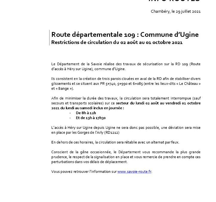 TRAVAUX ROUTE D'HERY (RD109)